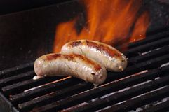 Sausages  on the Barbecue Grill Stock Photography