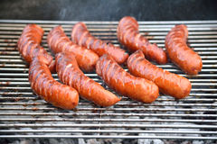 Sausages on the barbecue grill Royalty Free Stock Photography