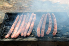 Sausages on the Barbecue Grill Stock Image