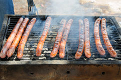 Sausages on the Barbecue Grill Stock Photo