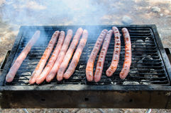 Sausages on the Barbecue Grill Royalty Free Stock Image