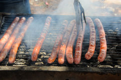 Sausages on the Barbecue Grill Royalty Free Stock Images