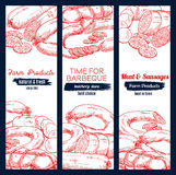 Sausages and barbecue meat vector banners sketch. Meat barbecue and sausage delicatessen vector sketch banners with pepperoni or salami kielbasa, bbq wurst Royalty Free Stock Image