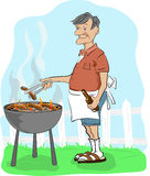 Sausages on the barbeque. An elderly man in shorts and sandals turns a sausage over a barbeque whilst holding a bottle of beer stock illustration