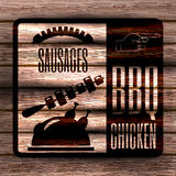 Sausages, Barbeque, grill on background of a wooden board. Retro vintage badges, ribbons and labels, hipster signboard. Vector, illustration royalty free illustration