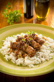 Sausages with basmati risotto Royalty Free Stock Photos
