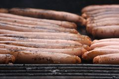 Sausages on the BBQ Stock Photos