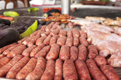 Sausages on the bbq grill royalty free stock images