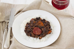 Sausages with beans and boiled rice Royalty Free Stock Image