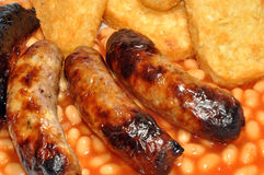 Sausages, Beans And Hash Browns Royalty Free Stock Images