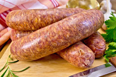 Sausages beef on a board Stock Image