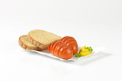 Sausages and bread Royalty Free Stock Photo