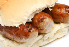 Sausages in Bread Roll or Bap Sandwich Stock Photo