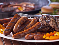 Sausages and burgers Royalty Free Stock Photography