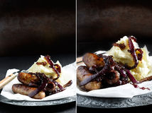 Sausages with Caramelised Onions Royalty Free Stock Photography