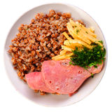 Sausages with cheese and buckwheat Royalty Free Stock Photo