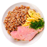 Sausages with cheese and buckwheat Stock Photo