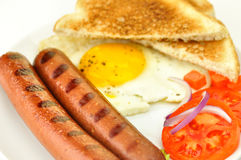 Sausages with egg Royalty Free Stock Photos