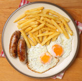 Sausages, Eggs and Chips Stock Photos