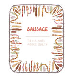 Sausages frame with many sorts Stock Image
