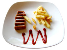 Sausages, French Fries and Ketchup Royalty Free Stock Photography
