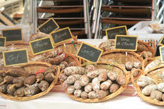 Sausages on a French market Royalty Free Stock Images