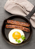 Sausages and fried eggs Stock Image
