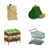 Sausages, fruit, cart .Supermarket set collection icons in cartoon style vector symbol stock illustration web. Royalty Free Stock Photos