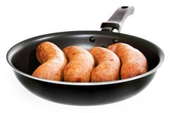 Sausages in frying pan Stock Image