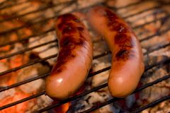 Sausages on grill Stock Images