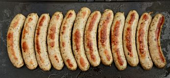 Sausages on the grill stock image