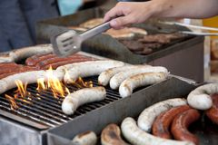 Sausages on grill Stock Photography