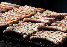 Sausages on grill Stock Image