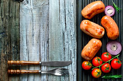 Sausages on a grill Stock Image