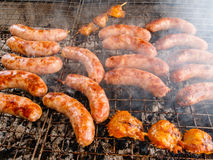 Sausages on the grill Royalty Free Stock Photo