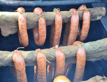 Sausages. On grill closed-up Royalty Free Stock Images