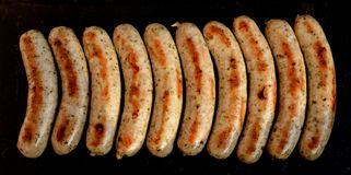 Sausages on the grill royalty free stock images