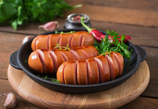 Sausages on the grill. Royalty Free Stock Photos