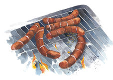 Sausages on the grill watercolor painting illustration isolated on white background Royalty Free Stock Photography