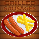 SAUSAGES GRILLED & FRENCH FRY Royalty Free Stock Photography