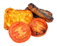Sausages And Grilled Tomatoes With Hash Browns Royalty Free Stock Images
