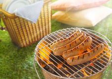 Sausages grilling or glowing hot coals Royalty Free Stock Images