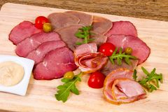 Sausages and ham assortment Royalty Free Stock Image