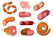 Sausages, ham, bacon, roast beef and steak Stock Image