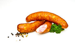 Sausages handmade by the butcher Stock Image