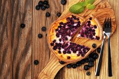 Blueberry pie or homemade cheesecake with blueberries. Delicous dessert blueberry tart royalty free stock photography