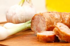 Sausages homemade with green onions. See my other works in portfolio Stock Photos