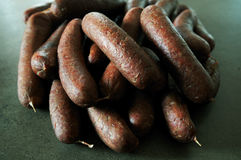 Sausages. Homemade pork sausages. Filled to pork casing and slowly smoked stock image