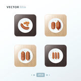 Sausages, Hot dog Icons design food on wood Stock Images