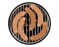 Sausages. An illustration of sizzling sausages on a round barbeque cooker isolated on a white background Stock Photo